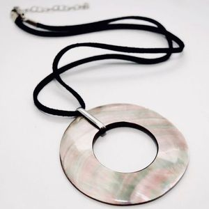 Jewelry - Sterling Large Mother of Pearl Suede Necklace
